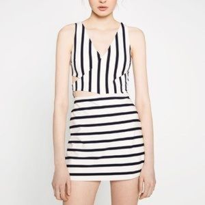 Zara striped romper with cut out details